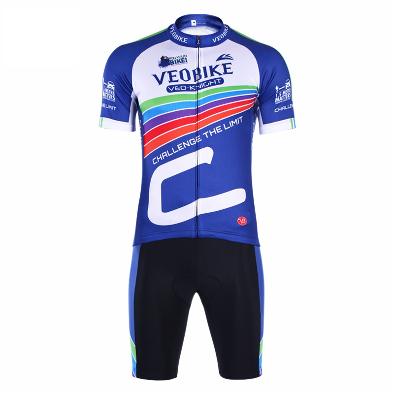 Blue Track Pattern 3D Padded Pants Short Sleeve Mens Cycling Jersey