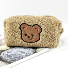 1pc Cartoon Bear Patch Plush Pencil Bag