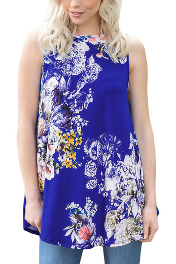 Yoins Blue Casual Round Neck Pleated Hem Floral Print Top