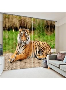 3D Vivid Ferocious Tiger Printed Thick Polyester Cotton 2 Panels Blackout Creative Curtain
