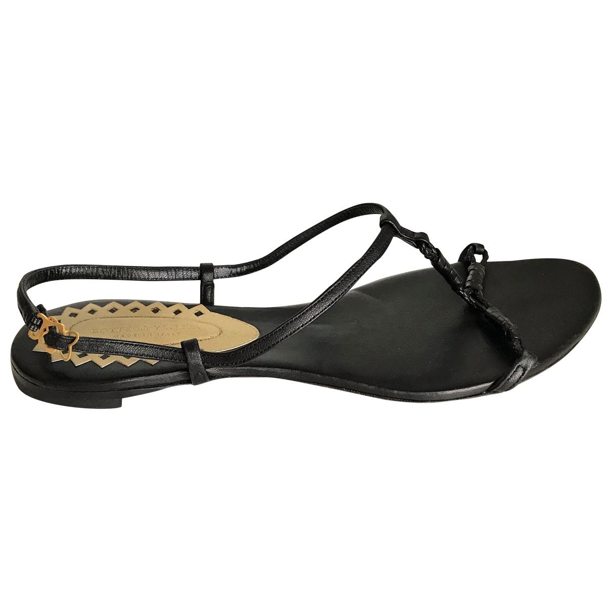 Bottega Veneta \N Black Leather Sandals for Women 37.5 EU