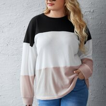 T-Shirt mit Farbblock und sehr tief angesetzter Schulterpartie