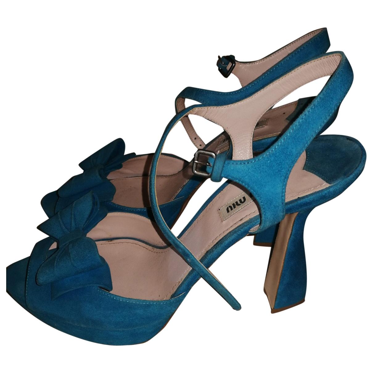 Miu Miu \N Blue Suede Sandals for Women 40 EU
