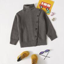 Pullover mit Rollkragen und Knopfen