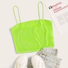Neon Lime Velvet Crop Cami Top