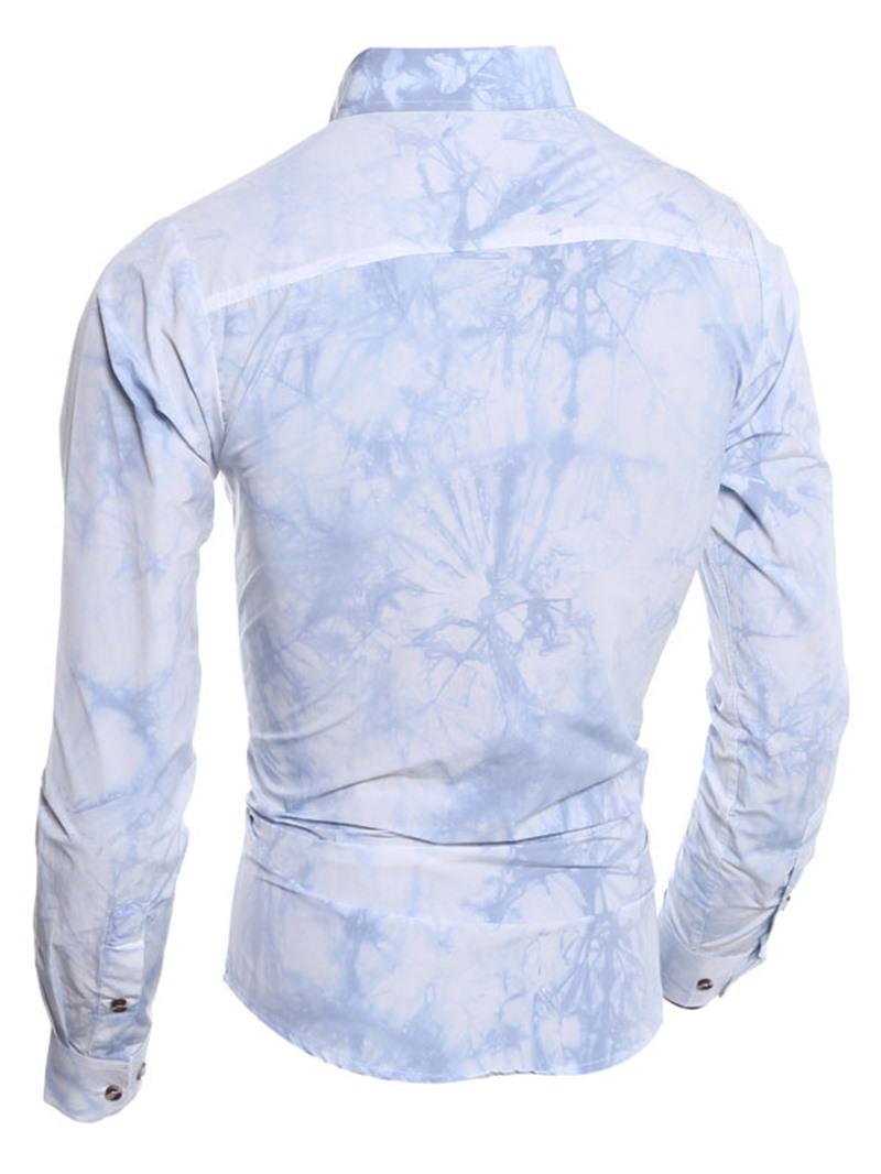 Ericdress Patchwork Lapel Mens Color Block Slim Shirt