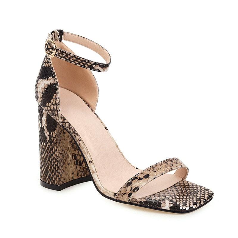 Ericdress Chunky Heel Line-Style Buckle Heel Covering Serpentine Sandals