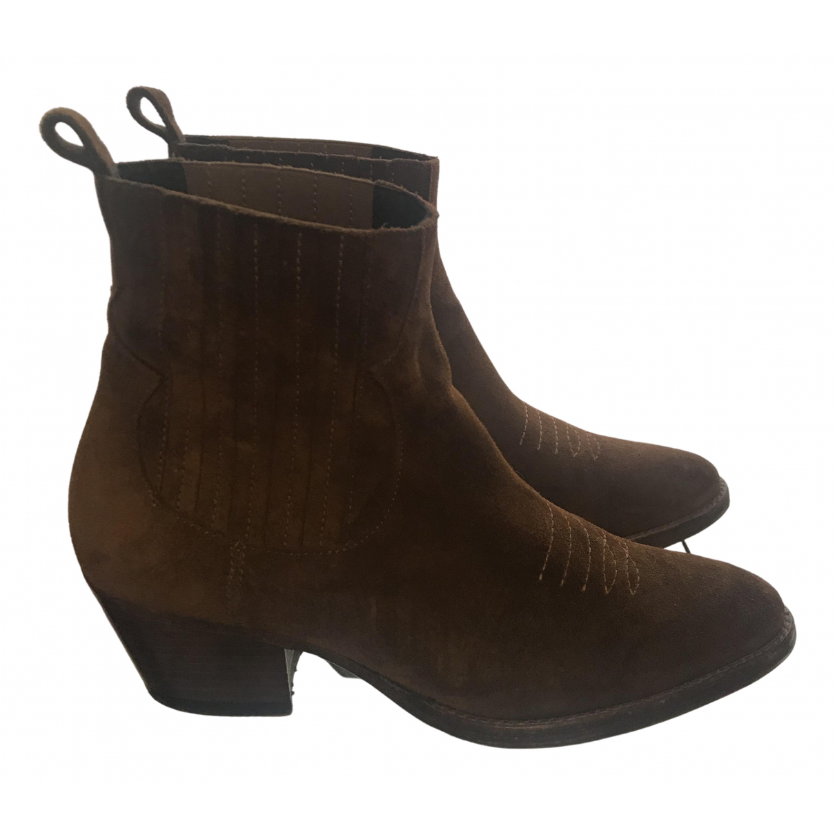 Maje N Camel Suede Ankle boots for Women 38 EU