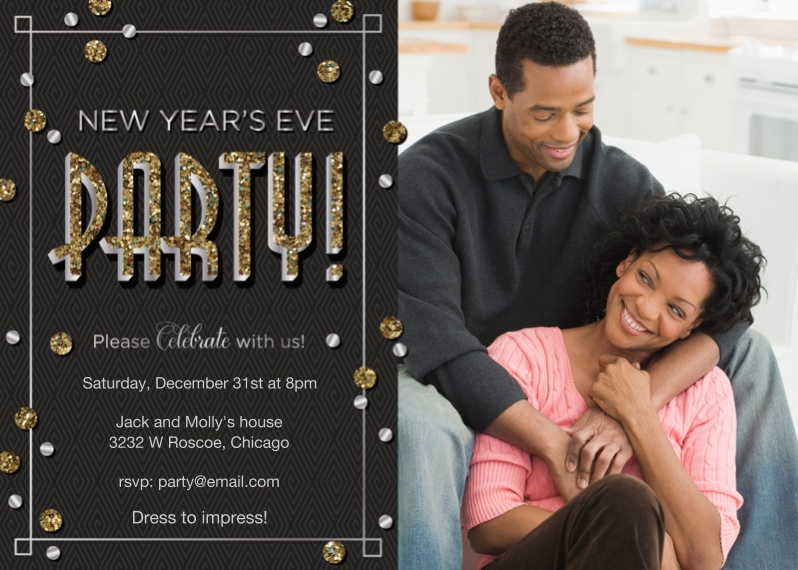 New Year's 5x7 Cards, Standard Cardstock 85lb, Card & Stationery -Start the New Year's Party!