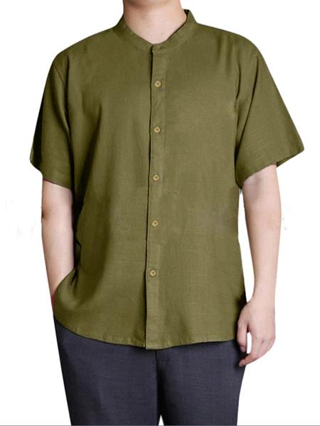 Yoins INCERUN Men Summer Short Sleeve Vintage Chinese Button Down Linen Shirt