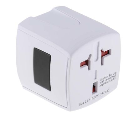 RS PRO Australia, China, Europe, Japan, UK, USA to Australia, China, Europe, Japan, UK, USA Travel Adapter, Rated At