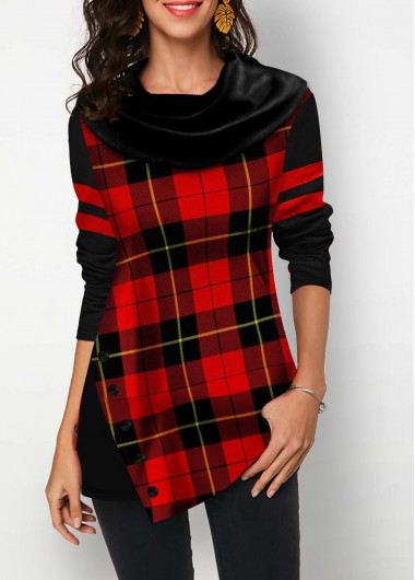 Women'S Red Plaid Print Long Sleeve Holiday T Shirt Xmas Cowl Neck Button Detail Asymmetric Hem Tunic Casual Top By Rosewe - M