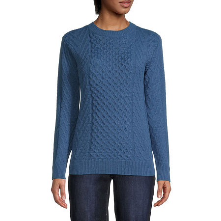 St. Johns Bay Womens Crew Neck Pullover Sweater, Large , Blue