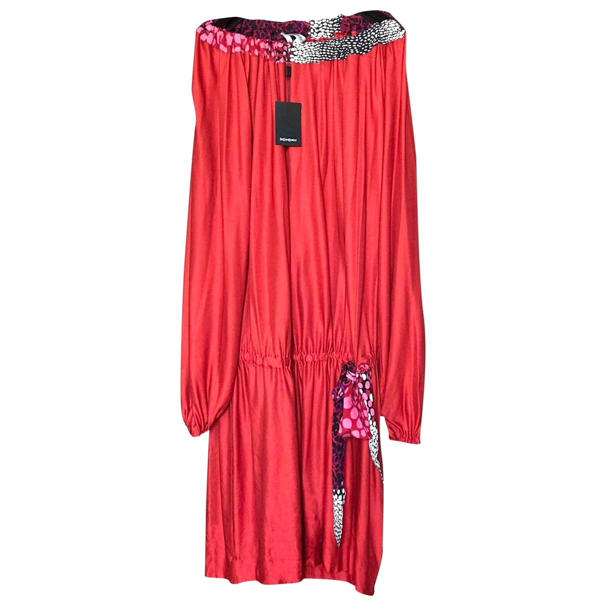 Yves Saint Laurent \N Kleid in  Rot Baumwolle