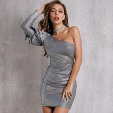 One Shoulder Gigot Sleeve Glitter Bodycon Dress