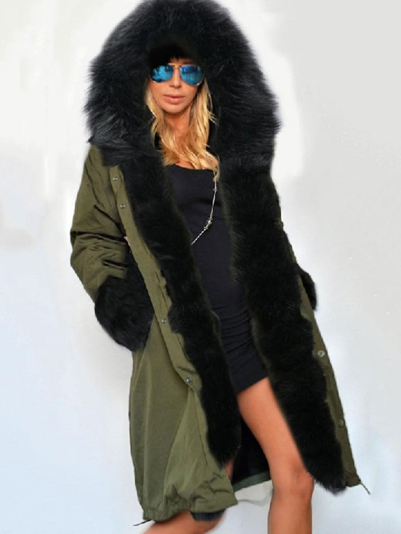 Ericdress Loose Thick Fur Hooded Coat