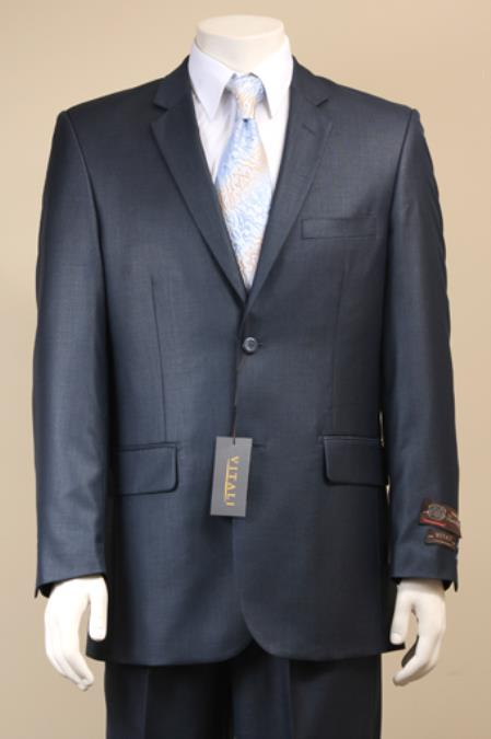 Mens 2 Button Textured Mini Weave Patterned Shiny Sharkskin Navy Suit