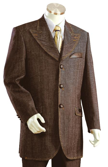 3 Button Brown Denim Fabric Zoot Suit Mens