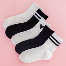 5 Paare Socken mit Streifen Muster
