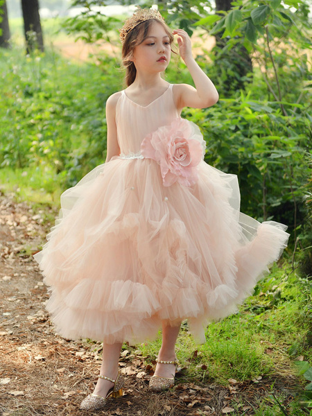 Milanoo Flower Girl Dresses Square Neck Sleeveless Pleated Formal Kids Pageant Dresses