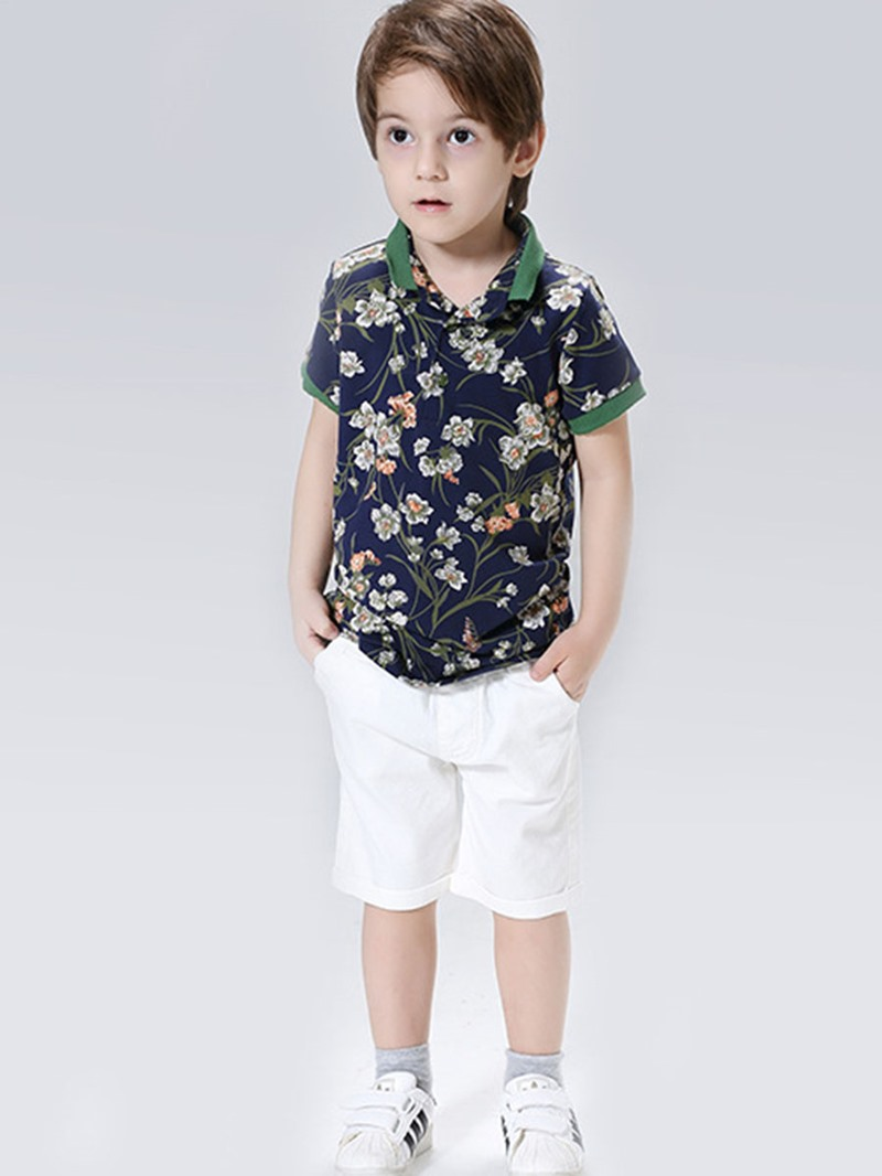 Ericdress Fashionable Print Shirt Knee Length Pants 2-Pcs Boys Suit