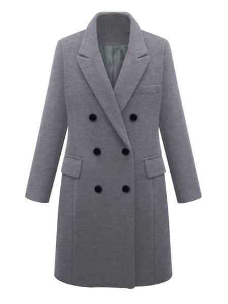 Milanoo Escudo Caqui cuello de cobertura de las mujeres de manga larga clasico de lana de abrigo
