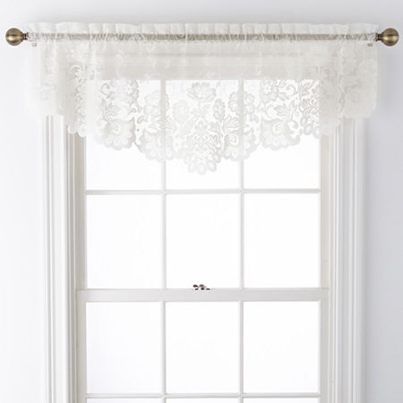 JCPenney Home Shari Lace Rod-Pocket Ascot Valance, One Size , White