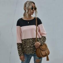 Contrast Leopard Color-block Tee
