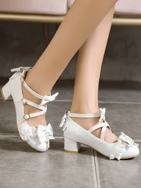 Milanoo Sweet Lolita Pumps Bows Ruched PU Leather Chunky Heel Lolita Shoes