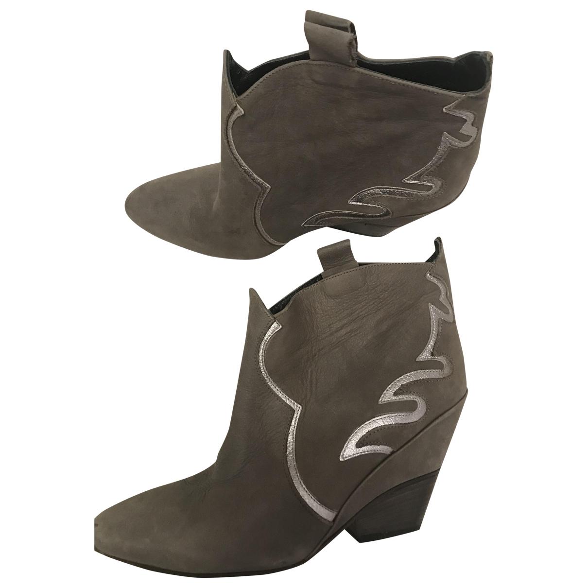 - Boots   pour femme en cuir - gris