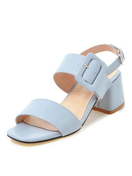 Milanoo Mid Heel Sandals Womens Open Toe Slingback Chunky Heel Sandals