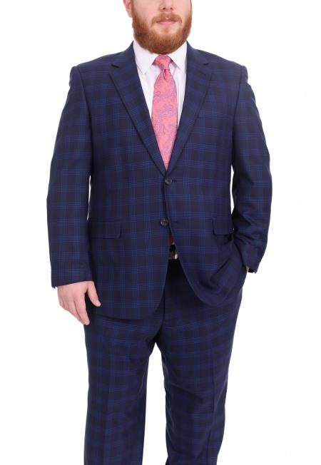 Mens Plaid Pattern Portly Fit Blue Two Button 1 Wool Fully Lined Suit