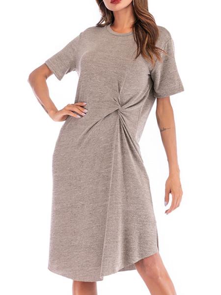 Milanoo Vestido camisero oversize Vestido de verano de manga corta anudado