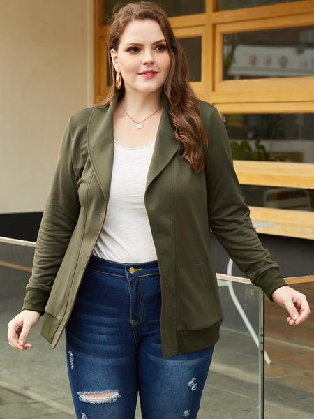 YOINS Plus Size Army Green Side Pockets Lapel Collar Jacket
