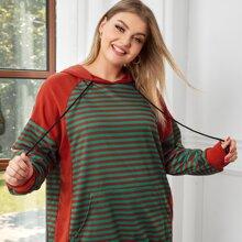 Plus Striped Pocket Drawstring Hoodie