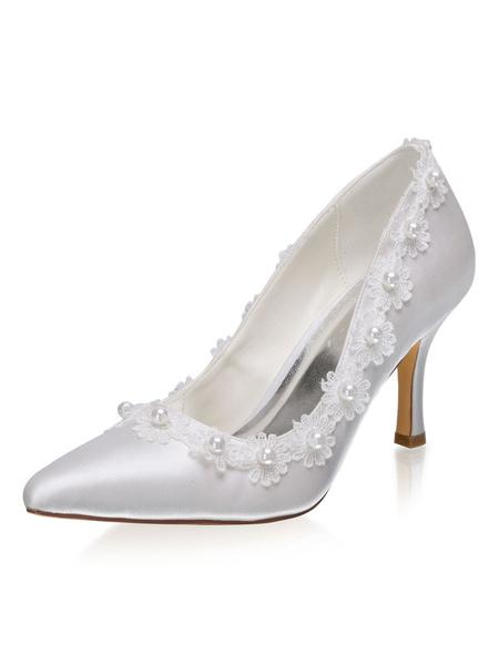 Milanoo Zapatos de novia de saten Zapatos de Fiesta de tacon de stiletto Zapatos Marfil Zapatos de boda de puntera puntiaguada 8cm con perlas