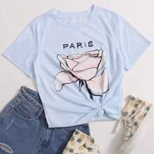T-Shirt mit Blumen & Buchstaben Grafik