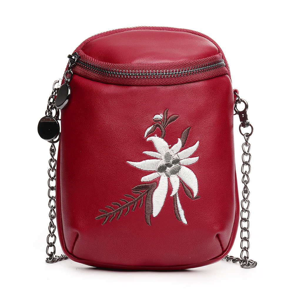 Women MiniEmbroidery Flower Casual PU Leather Phone Bag Crossbody Bag