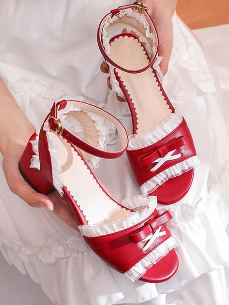 Milanoo Sweet Lolita Sandals Pink BowsRuffles PU Leather Round Toe Lolita Summer Shoes