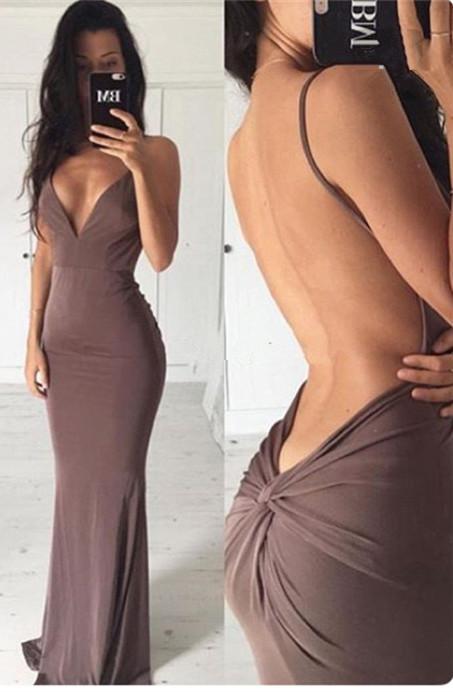 Sexy Backless Sheath Long Evening Dress | Spaghetti Strap Formal Dresses BA3549