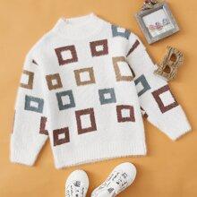 Toddler Girls Geo Print Sweater