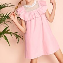 Girls Dobby Mesh Yoke Ruffle Trim Dress
