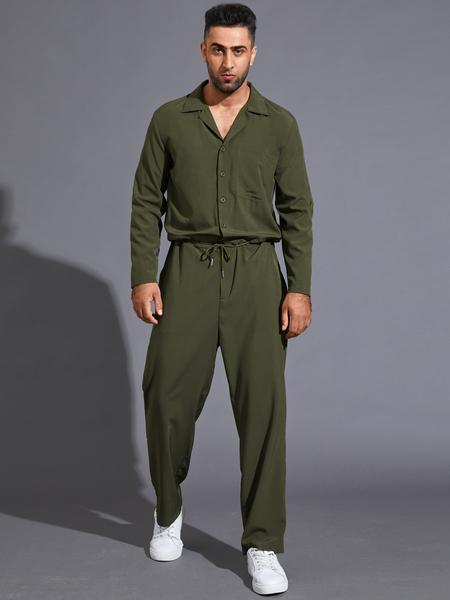 Yoins Men Japanese Retro Long Sleeve Drawstring Overalls Jumpsuit