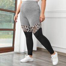 Leggings mit Leopard Muster und Farbblock