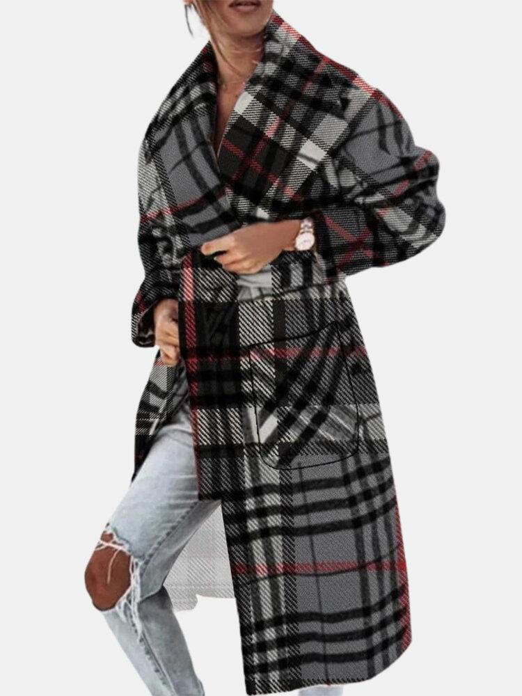 Plaid Casual Long Sleeve Lapel Woolen Plus Size Coat