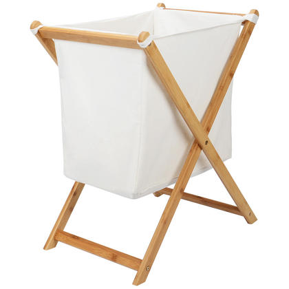 Collapsible Bamboo X-Frame Laundry Hamper - SortWise™
