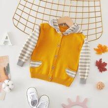 Baby Boy Striped Spliced Hooded Cardigan