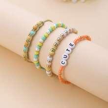 4 Stuecke Armband mit Buchstaben und Perlen Dekor