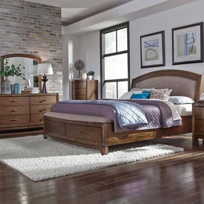 Liberty Furniture 705-BR-KSBDMC 4 Piece Bedroom Set with Queen Upholstered Storage Bed  Dresser and Mirror  Chest in Pebble Brown