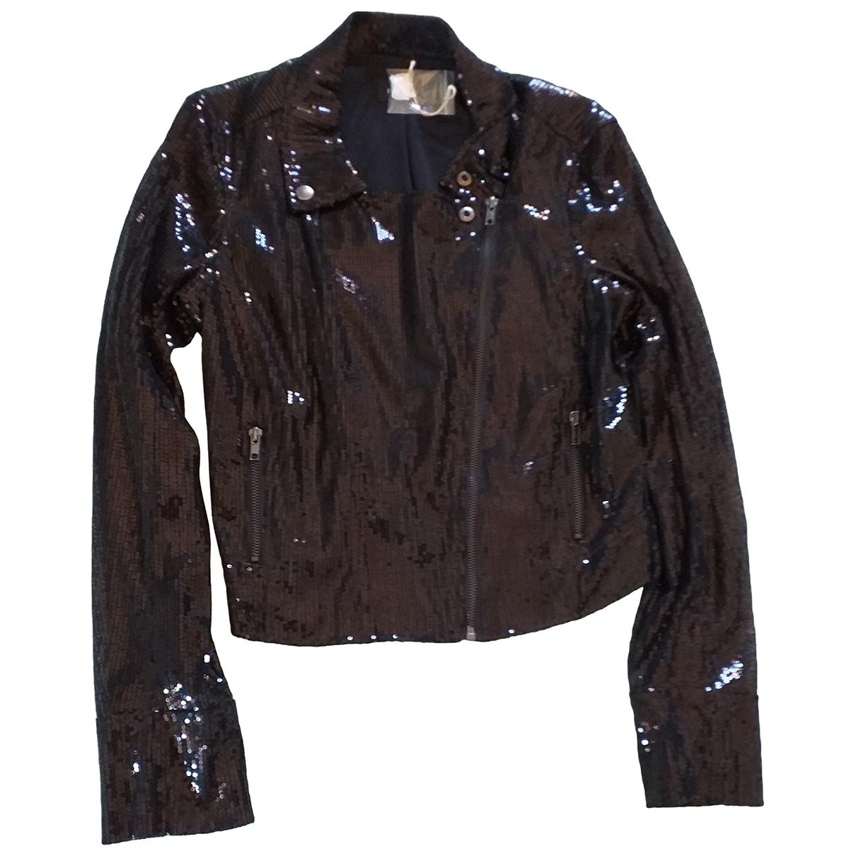 Non Signe / Unsigned Epaulettes Jacke in  Schwarz Polyester